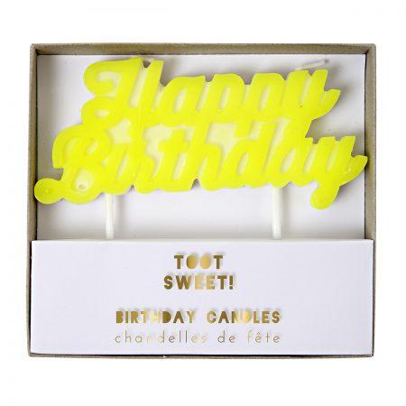 Kerze Happy Birthday gelb Meri Meri