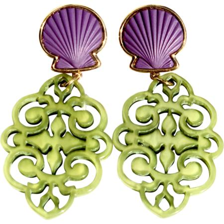 Purple Shell Green Earrings