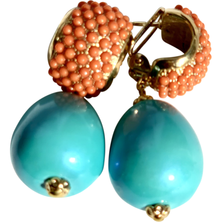 Coral Turquoise Stones Earrings