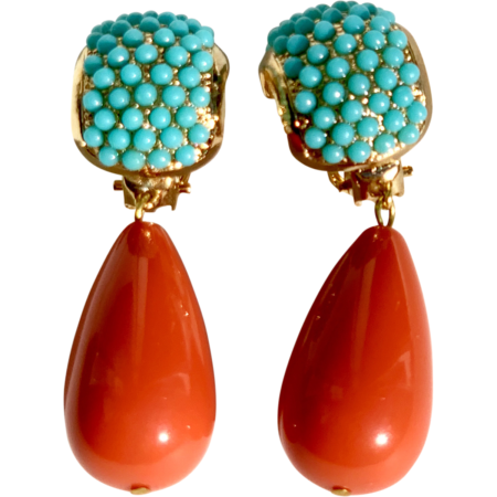 Turquoise Coral Stones Earclips