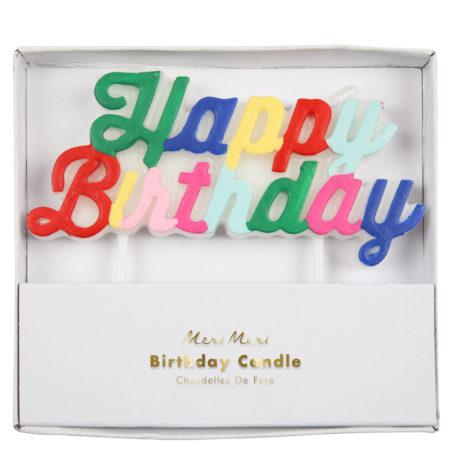 Multicolor Happy Birthday Kerze