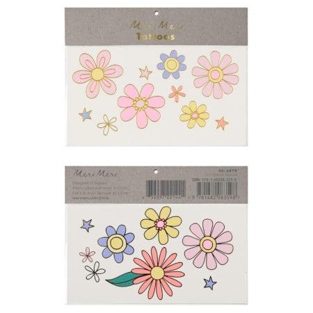 Blumen-Tattoos im 60ties Look